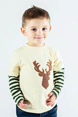 52-F18 Applique Deer Boy's Long Sleeves T-Shirt