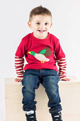 54-F18 Applique Mallard Duck Boy's Long Sleeves T-Shirt
