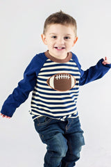 42-F18 Applique Football Boy's Long Sleeves T-Shirt