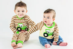 46-F18 Applique Tractor Boy's Long Sleeves T-Shirt