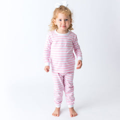 17S20 Applique Stripes 2 Piece Girl's Loungewear