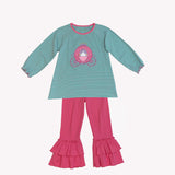 Applique princess Carriage Girl's Pant Set