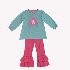 18F19 Princess Carriage Applique Girl's Pants Set L/S
