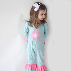 19F19 Princess Carriage Applique Girl's Romper L/S