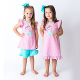 Matching Sister Applique Mermaid Dress and Short Set