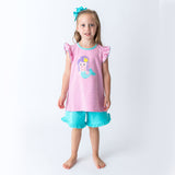 Applique Mermaid Girl's Short Set