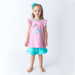 20S20 Applique Mermaid Girl's Short Set