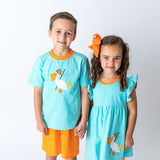 Apploqie Pelican Girl's Dress and Boy's Short Set