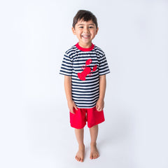 29S20 Applique Lobster Boy's Short Set
