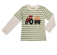 958-F18 Applique Tractor with Pumpkin Boy's Long Sleeves T-Shirt