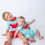 Matching Applique Red Crab Boy's Short Set and Shortall