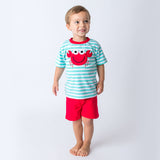 Applique Red Crab Boy's Short Set