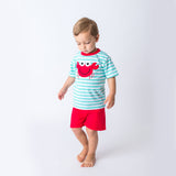 Boy's Short Set with an Applique Red Crab