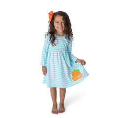 Pumpkin Applique Girl's Dress L/S - 36H21