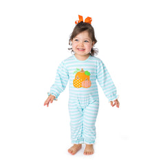 Pumpkins Applique Girl's Romper L/S - 37H21
