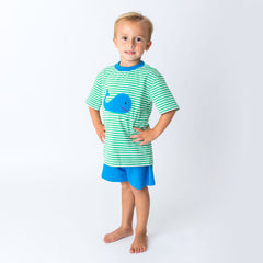 37S20 Applique Whale Boy's Short Set
