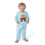 Applique Wagon Pumpkins Boy's Romper