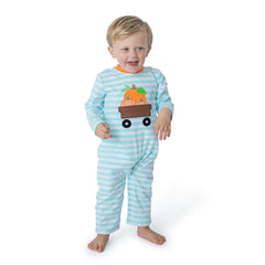 Pumpkins Applique Boy's Romper L/S - 38H21