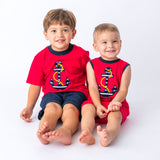 Applique Anchor Boy's Short Set and Boy's Romper