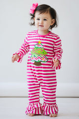 70-F18 Applique Christmas Tree Baby Girl Romper