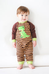 51-F18 Applique Dinosaur Baby Boy Romper