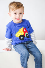 48-F18 Applique Truck Boy's Long Sleeves T-Shirt