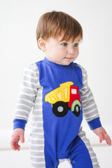 49-F18 Applique Truck Baby Boy Romper
