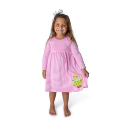 Christmas Tree Applique Girl's Dress L/S - 40H21