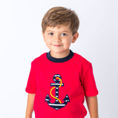 41S20 Applique Anchor Boy's Short Set