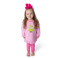 Christmas Tree Applique Girl's Pant Set L/S - 41H21