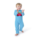 Knit Boy's Romper with Applique Car and Christmas Tree