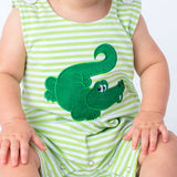 Applique Green Alligator Boy's Shortall