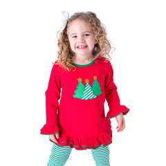 46H20 Christmas Tree Applique Girl's Pants Set