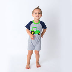 47S20 Applique Tractor Baby Boy Romper