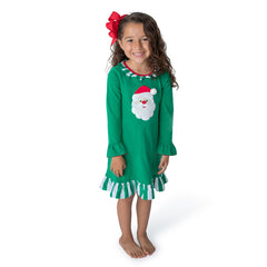 Santa Applique Girl's Christmas Gown L/S - 50L21