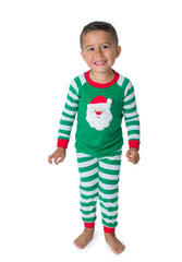 Santa Applique Green Stripes Unisex Loungewear - 51L21