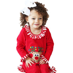 Reindeer Applique Christmas Girl's Gown - 53L21