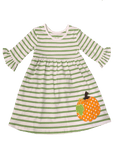 Applique Pumpkin Knit Girl's Dress