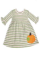56-F18 Applique Pumpkin Girl's Dress
