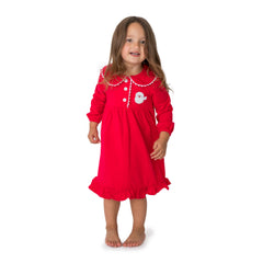 Santa Applique Christmas Girl's Gown - 56L21