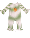 Applique Pumpkin Girl's Romper