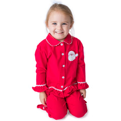 Santa Applique Christmas Girl's Button Up Loungewear - 57L21