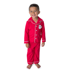 Santa Applique Christmas Boy's Button Up Loungewear - 58L21