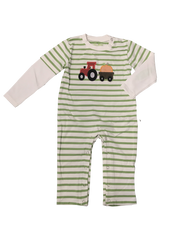 959-F18 Applique Tractor and Pumpkin Baby Long Romper