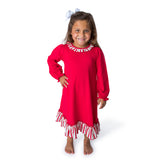 Blank Red & White Girl's Christmas Gown L/S - 62L21