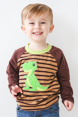 50-F18 Applique Dinosaur Boy's Long Sleeves T-Shirt