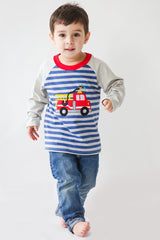 44-F18 Applique Firetruck Boy's Long Sleeves T-Shirt