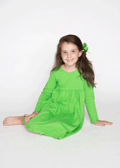 9124H18 - Green Knit Long Sleeve Girl's Dress