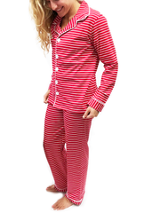 9132-H18 Red and White Stripes Button Up Knit ADULT Unisex Loungewear