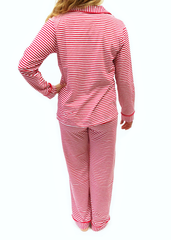 92-F18 Red and White Stripes Button Up Knit ADULT Unisex Loungewear